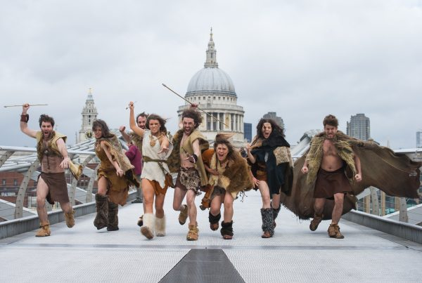 *Strictly Embargoed until 00:01 on Monday 2nd Feb 2015*   Stone Age tribe appear in London   A Stone Age tribe explored some of modern day London's famous landmarks.  From charging to Parliament at Big Ben and hunting near St Pauls to spear fishing in the Thames by The Shard and forming a decent of man at Abbey Road.  How to 10,000 BC's inhabitants fare in this urban jungle?   A Stone Age tribe also participate in a social experiment called 10,000 BC, which starts tonight at 10pm on Channel 5.  The television programme features twenty modern day Brits who leave the 21st Century to go back to the Stone Age.  Their mission is to survive two months in the wilderness by hunting and foraging for food.  As they come face to face with hunger, sickness and extreme weather, this series gives a unique insight into the origins of our human existence and explores what it takes to survive the Stone Age.  Out of the twenty who started, who will make it to the end?   10,000 BC, Mondays and Tuesdays at 10pm on Channel 5.     10,000 BC: Meet The Stoners, Tuesdays at 11pm on MTV. For further info please contact Channel 5 Press Office 0207 098 2825 For photographic enquiries please call Anthony Upton 07973 830 517 or email info@anthonyupton.com  This image is copyright Anthony Upton 2015©. This image has been supplied by Anthony Upton and must be credited Anthony Upton. The author is asserting his full Moral rights in relation to the publication of this image. All rights reserved. Rights for onward transmission of any image or file is not granted or implied. Changing or deleting Copyright information is illegal as specified in the Copyright, Design and Patents Act 1988. If you are in any way unsure of your right to publish this image please contact Anthony Upton on +44(0)7973 830 517 or email:
