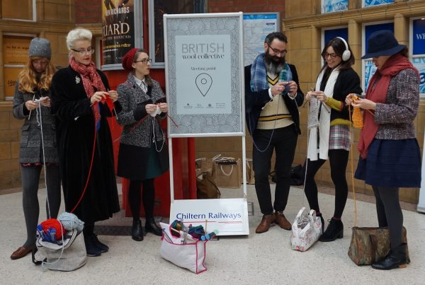 Ministry of Fun Knitters at Marylebone Station - National Wool Week 2016