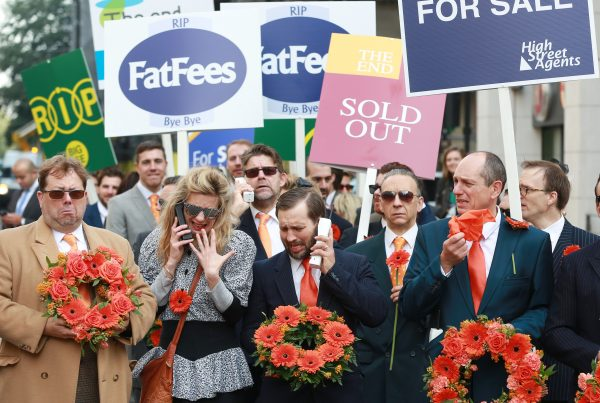 EDITORIAL USE ONLY A tongue-in-cheek funeral procession led by online estate agency, easyProperty, passes through Westminster in London to signal the Ôdeath of the high street estate agencyÕ and their extortionate commissions. PRESS ASSOCIATION Photo. Picture date: Tuesday September 29, 2015. easyProperty, which is backed by easyJet billionaire Stelios Haji-Ioannou, will offer significant savings for house-sellers through fixed fees. Photo credit should read: Matt Alexander/PA Wire