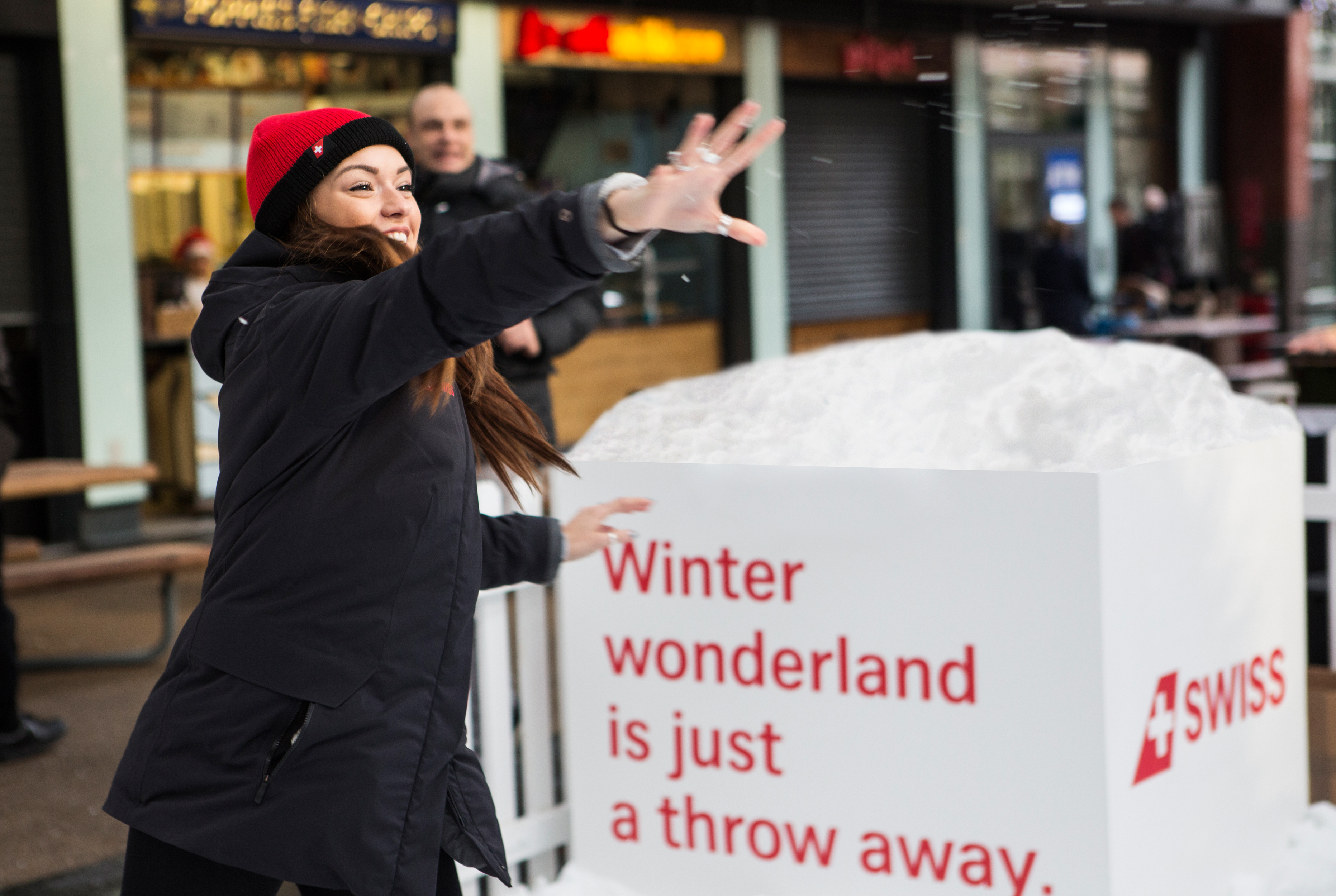 swiss air snowball interactive winter wonderland installation