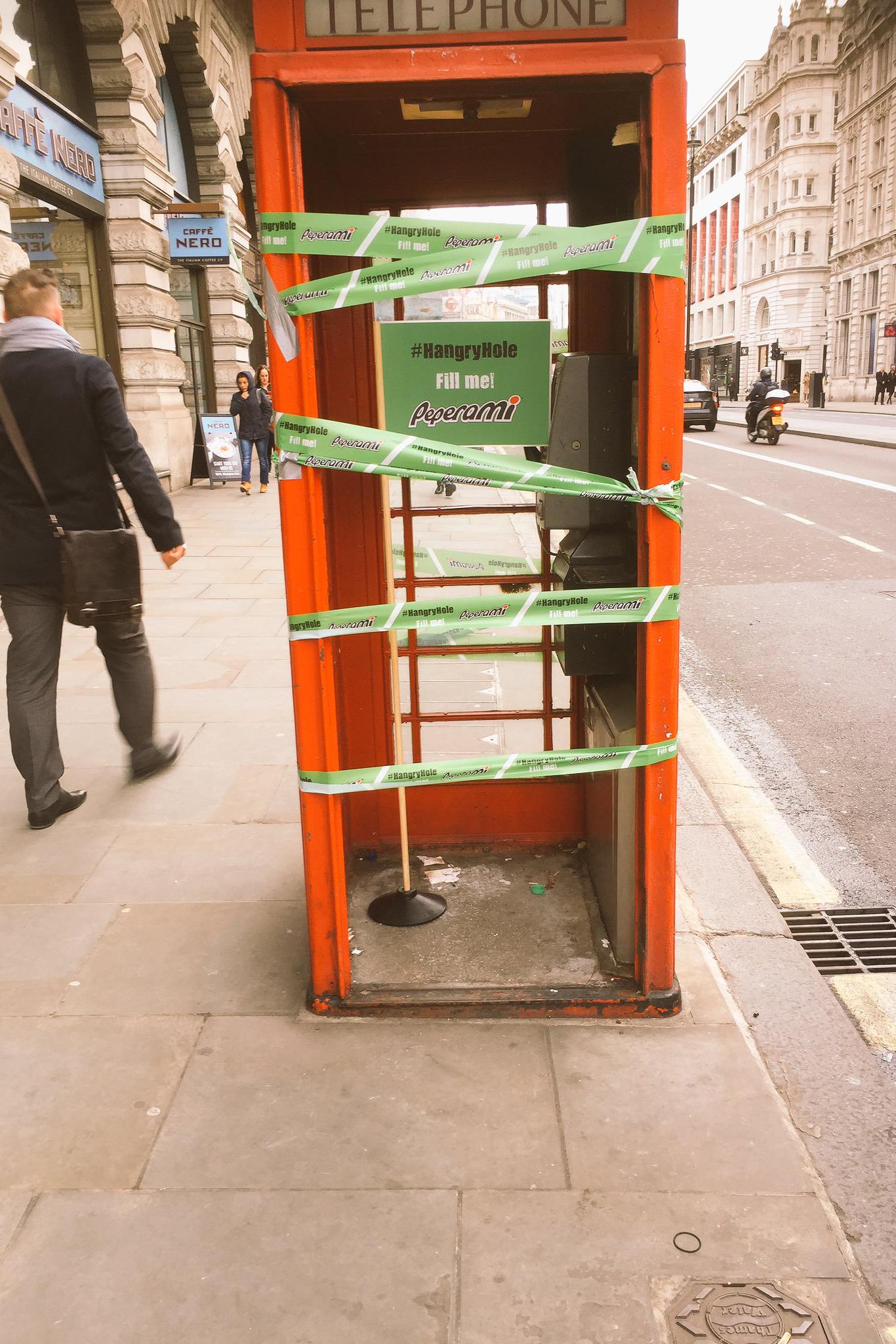 Peperami London porking #hangryhole telephone box pr stunt