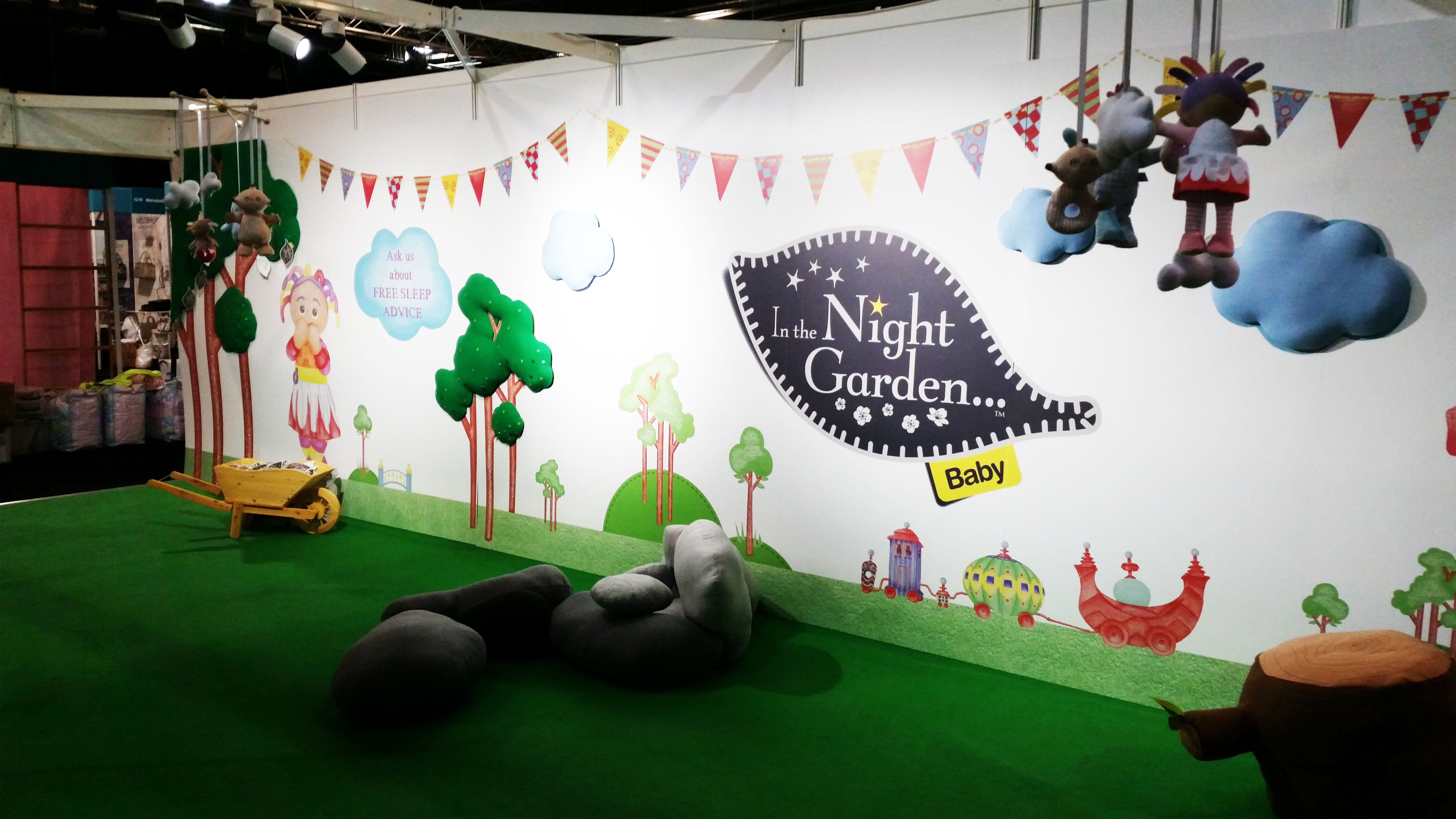 A comfy and colourful In The Night Garden themed stand at the baby and toddler show