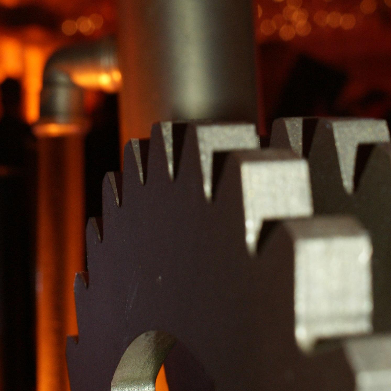 A metallic cog prop
