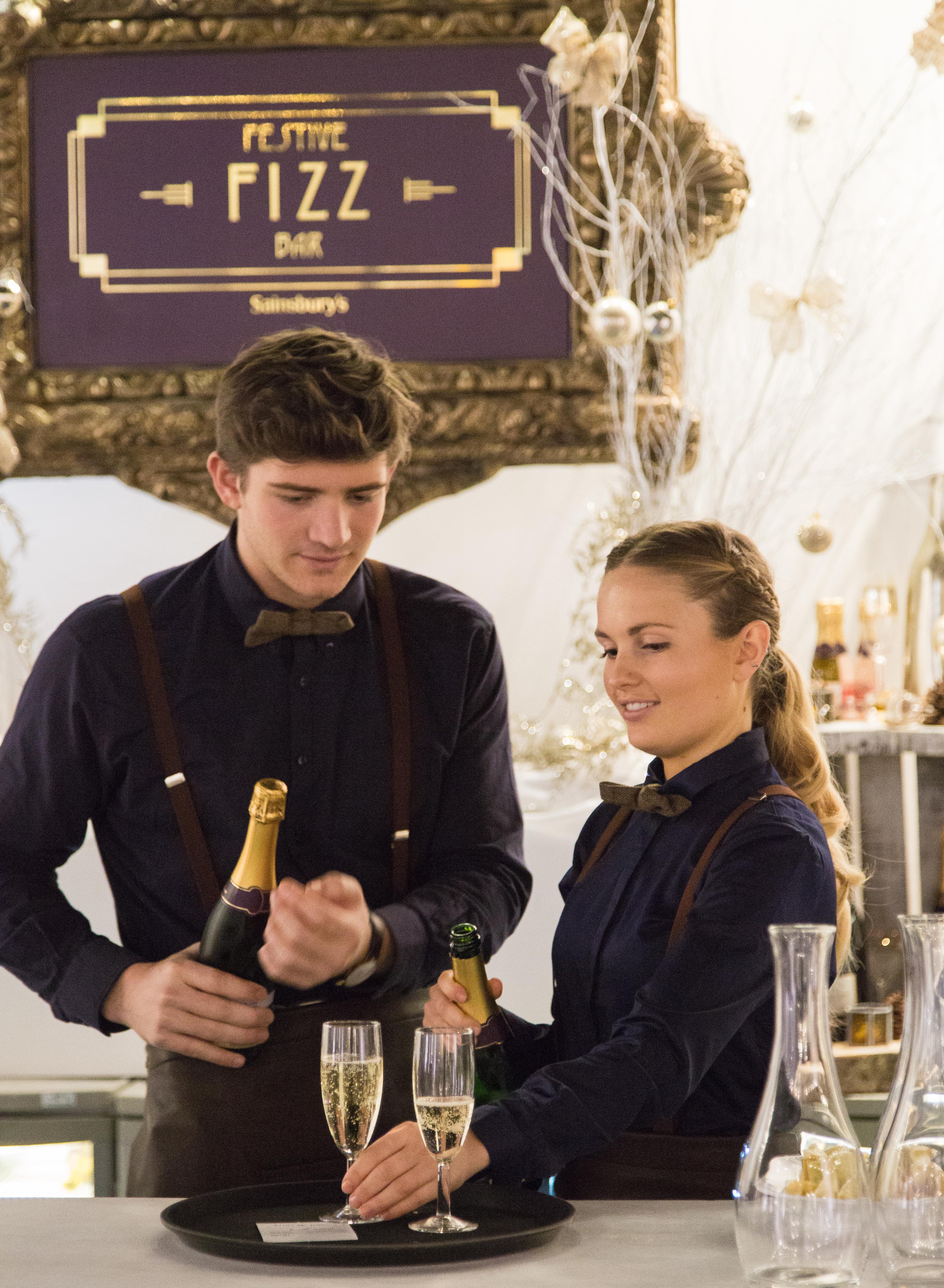 Bar staff at Sainsbury's Festive Fizz Bar Pop-Up