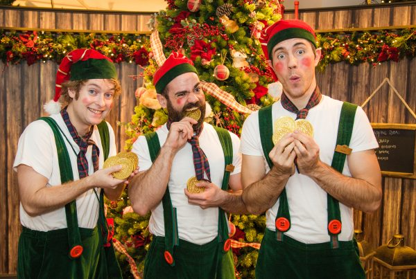Elves entertains children at Harrods Christmas Grotto