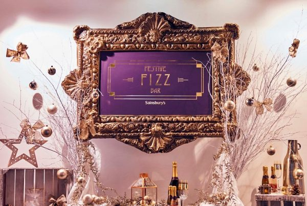 The themed bar at Sainsbury's Festive Fizz Bar Pop-Up