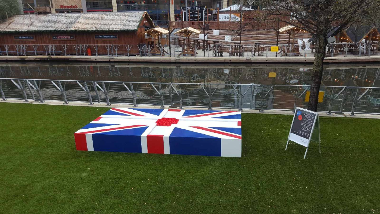 union jack installation by the river at the Oracle shopping centre reading.