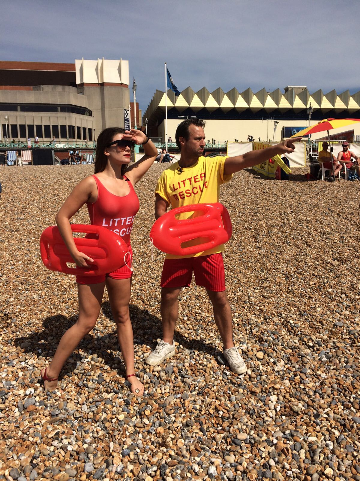 Two Litter rescue lifeguards on the beach to promote Hubub and #Litter Rescue