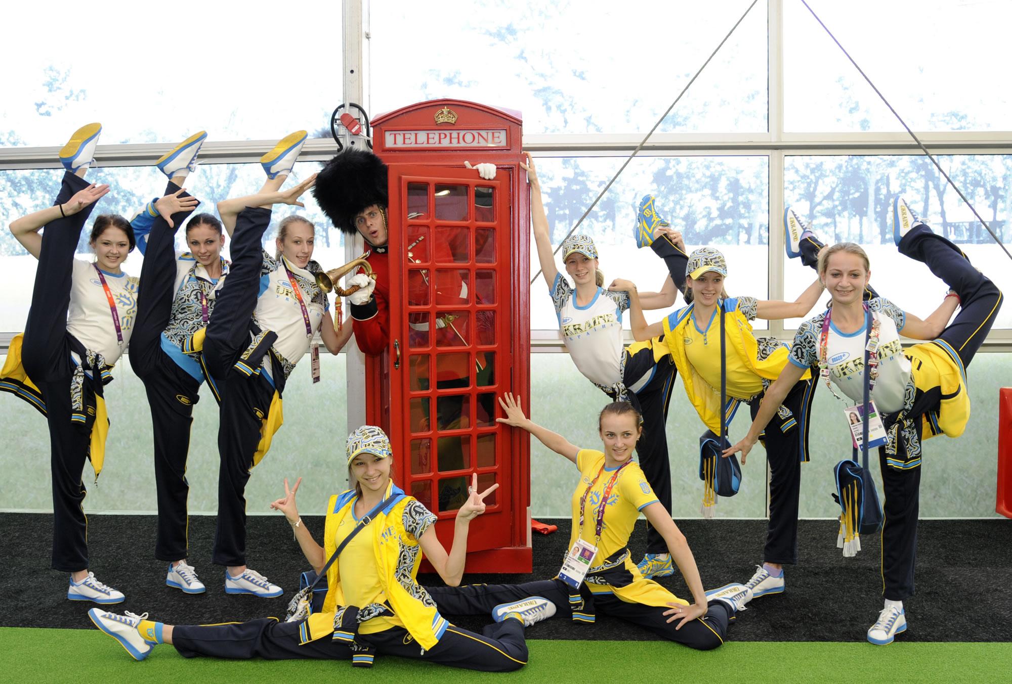 Heathrow London Olympics gymnasts