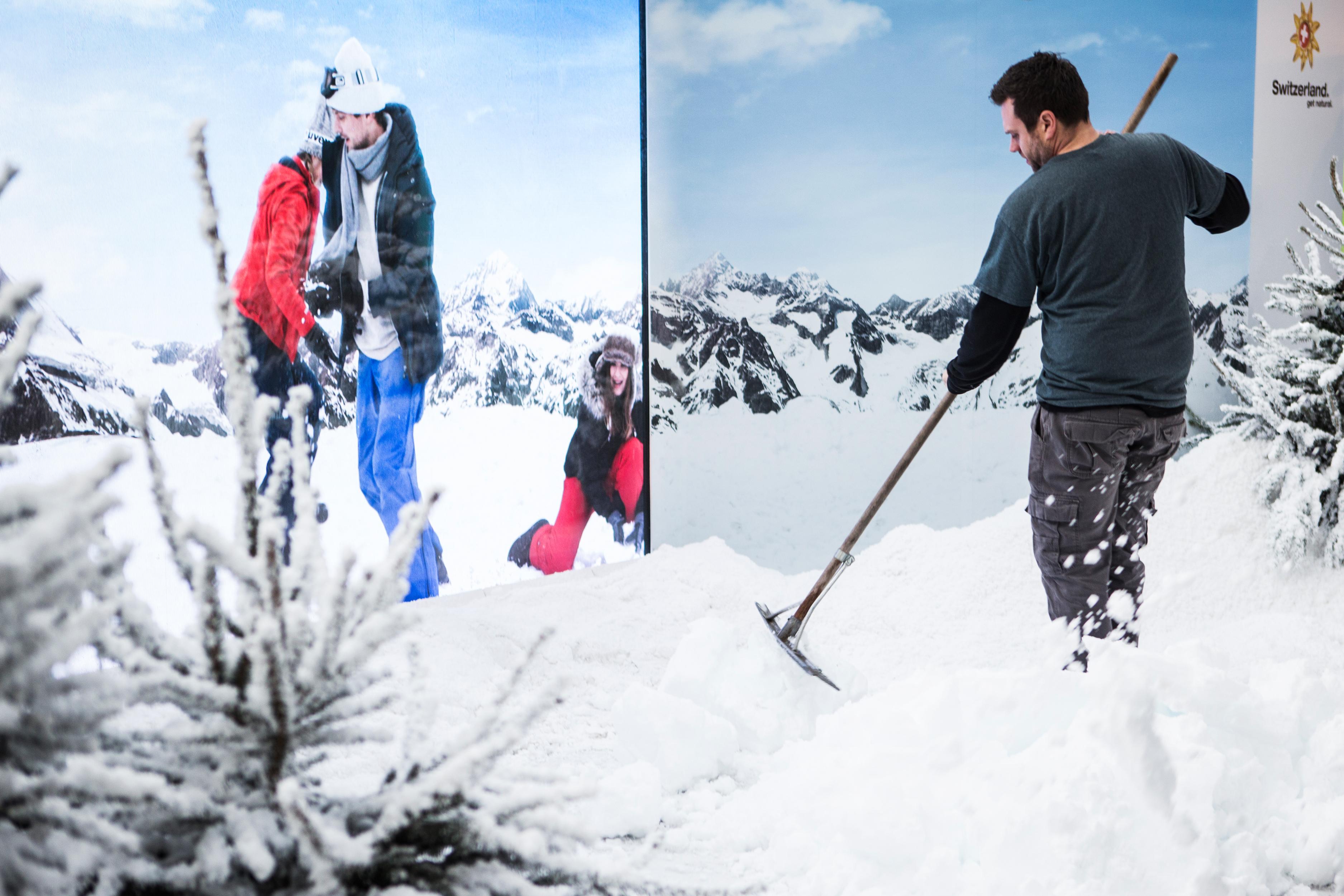 swiss air snowball interactive winter wonderland installation