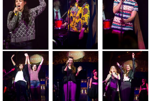 Six photographs of different members of the public singing karaoke on stage with a live band as part of a publicity stunt for Benefit Cosmetics.