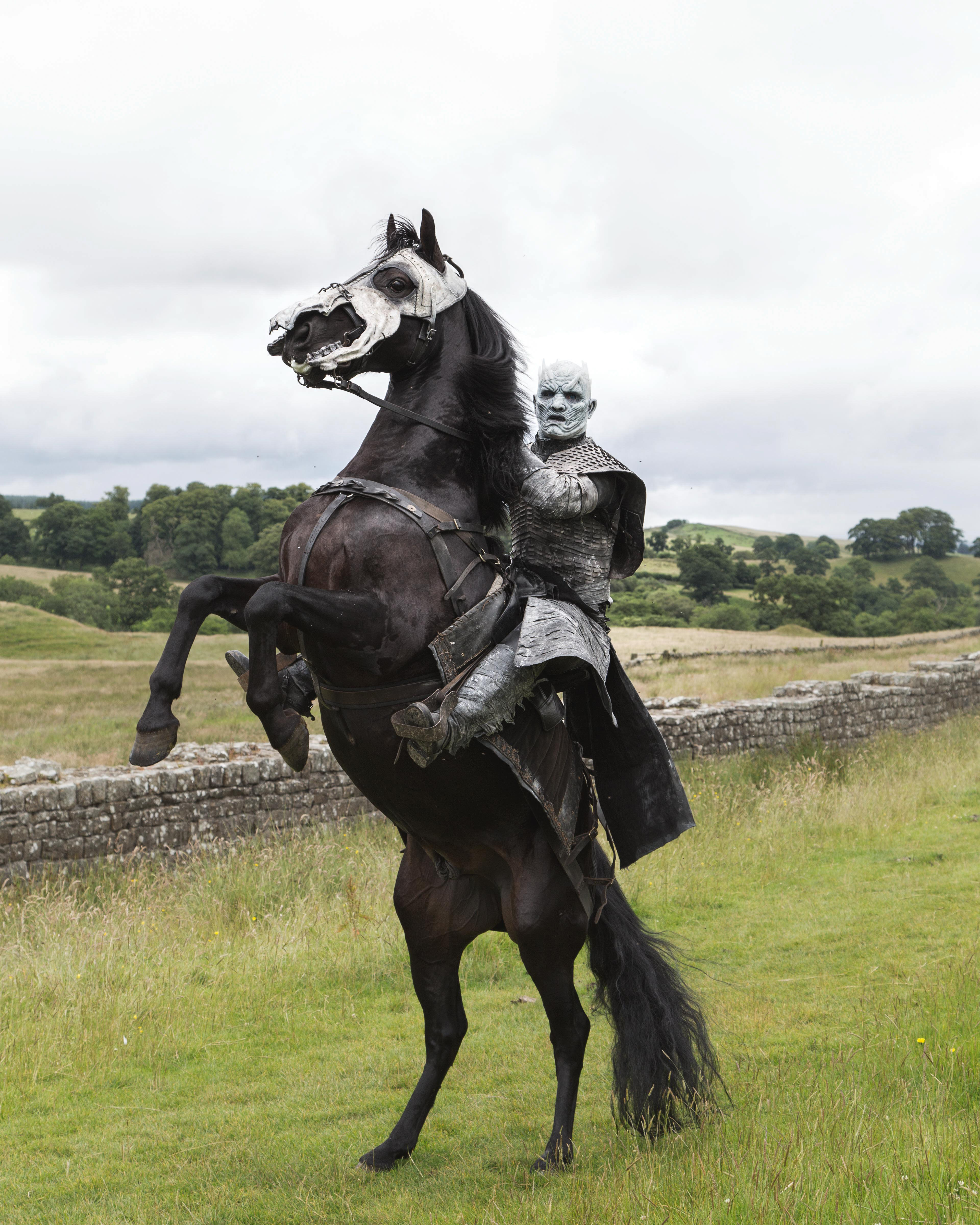 A White Walker on a rampant horse poses in front of Hadrians Wall