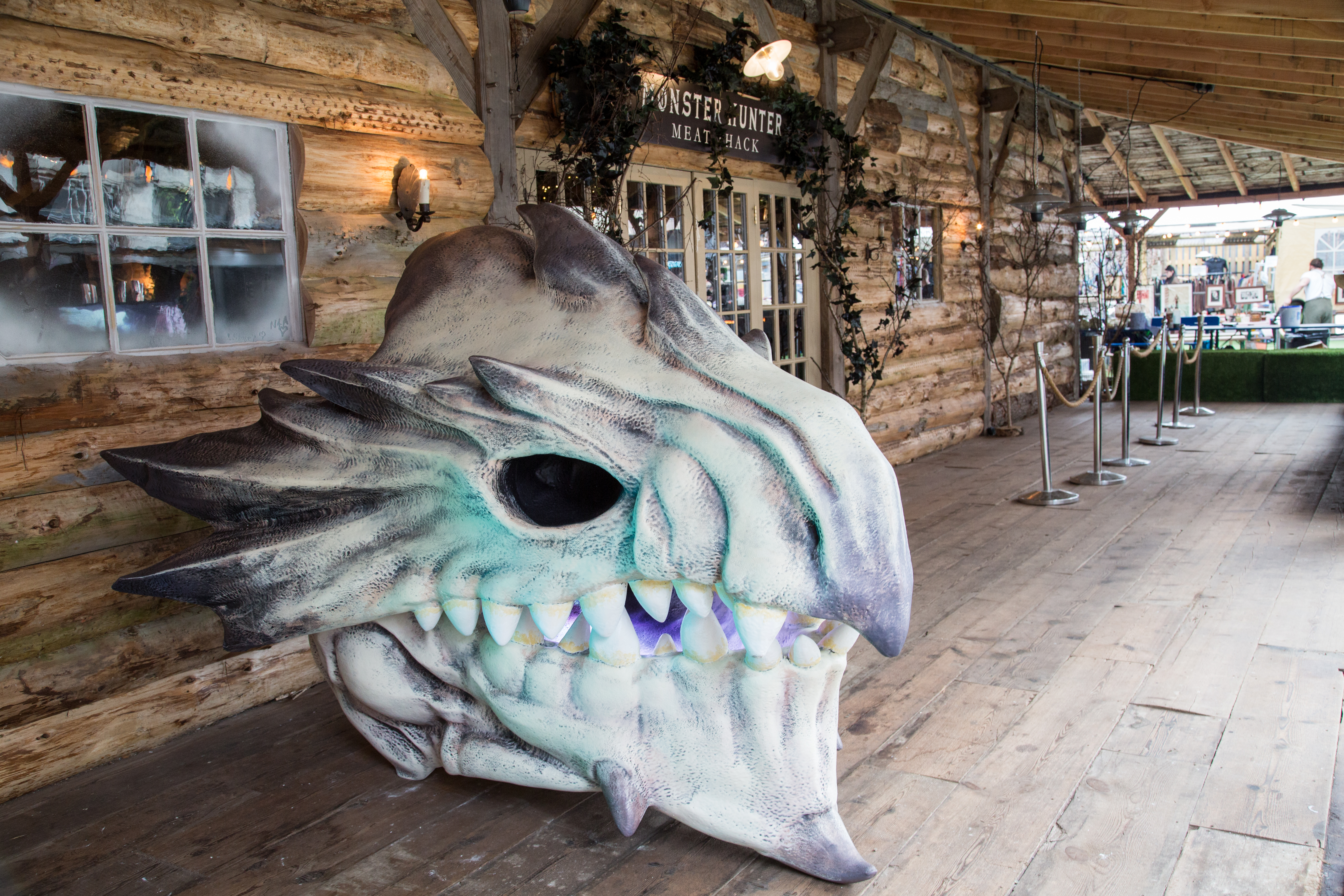 A bespoke giant Rathalos monster skull sits outside a restaurant pop-up in London called the Monster Hunter Meat Shack to celebrate the release of upcoming Capcom video game 'Monster Hunter: World'.