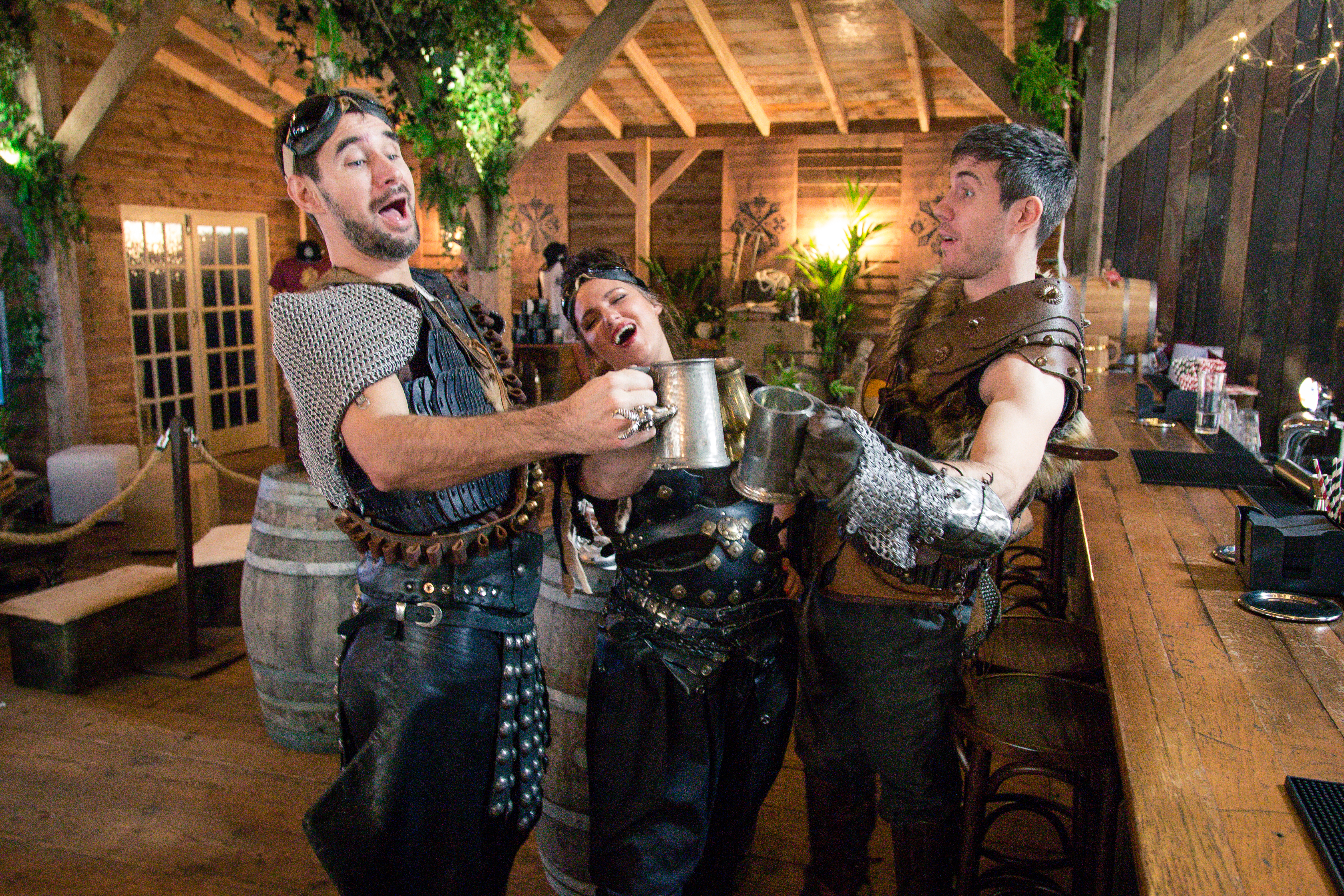 A trio of immersive theatre actors perform at a restaurant pop-up in London called the Monster Hunter Meat Shack to celebrate the release of upcoming Capcom video game 'Monster Hunter: World'.