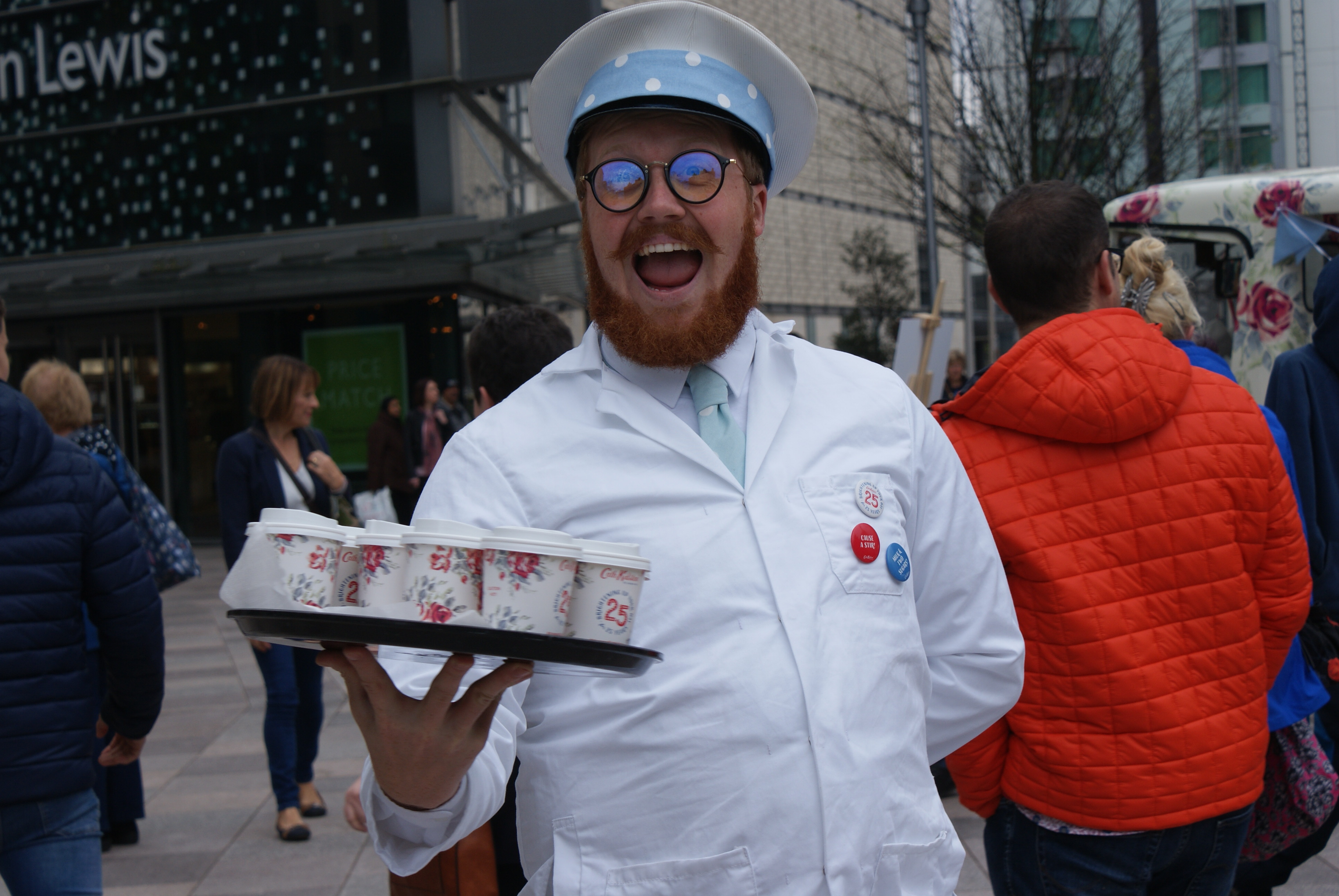 Cath Kidson celebrate their 25th birthday by giving away cups of tea and biscuits from a branded milk float.
